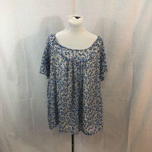 Torrid Blue Floral Print Blouse
